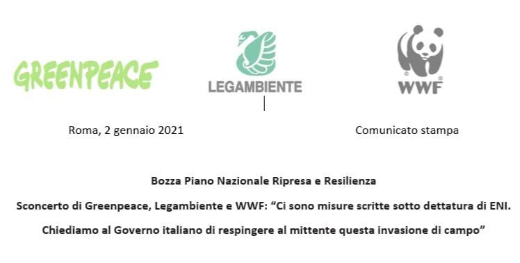 Piano nazionale ripresa e resilienza: Legambiente, Greenpeace e WWF scrivono al Governo