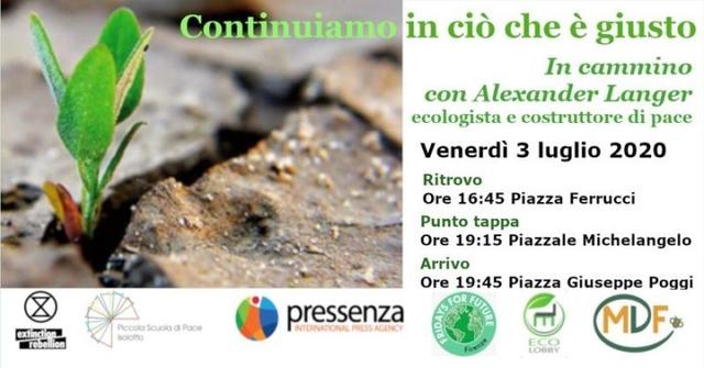 In cammino con Alex Langer, Firenze venerdì 3 Luglio