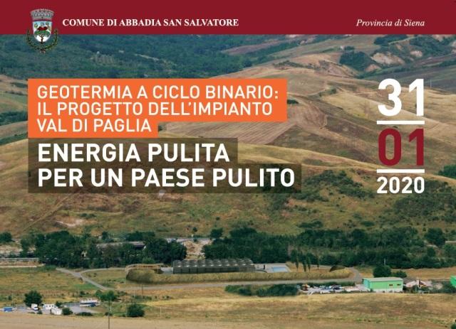 Nuovo impianto geotermico a ciclo binario Val di Paglia: presentazione il 31 gennaio ad Abbadia S.Salvatore